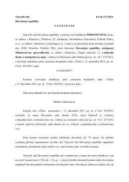 Najvyšší súd 8 Cdo 127/2014 Slovenskej