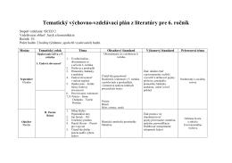 Tematický výchovno-vzdelávací plán z literatúry pre 6. ročník