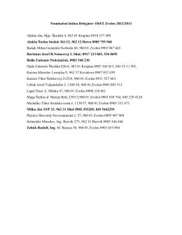 Zoznam delegátov