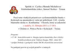 Spolok sv. Cyrila a Metoda Michalovce Gréckokatolícka cirkev