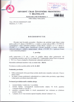 Rozhodnutie Obvodného úradu životného prostredia v Bratislave