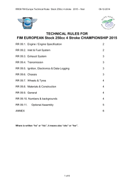 TECHNICAL RULES FOR FIM EUROPEAN Stock