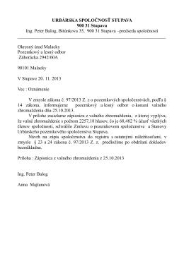 URBÁRSKA SPOLOČNOSŤ STUPAVA 900 31 Stupava Ing. Peter
