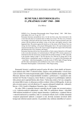 "RumunSKá HISTORIOgRAfIA O ""Pražskej jari"" 1968 – 2008"