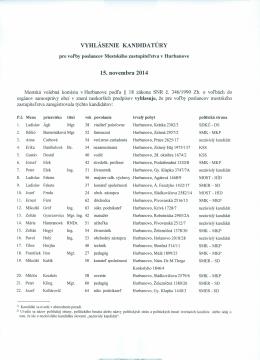 VYHLÁSENIE KANDIDATÚRY 15. novembra 2014