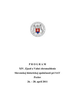Program - Slovenská historická spoločnosť pri SAV