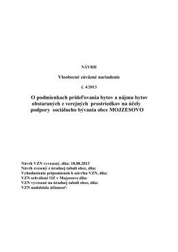 Všeobecné záväzné nariadenie obce Mojzesovo č