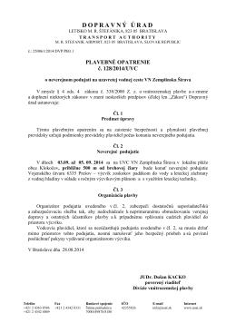 Plavebné opatrenie č. 128/2014/UVC
