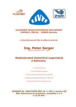 Ing. Peter Sorger - Spoločnosť dopravy SVTS