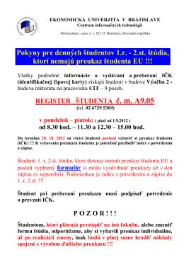 2.st. štúdia, ktorí nemajú preukaz študenta EU