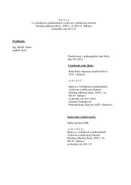 Hodnotiaca správa 2011/12