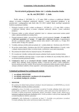 navrh kriterii 2012-13 - Gymnázium, Veľká okružná 22, ŽILINA