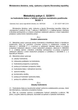 Metodický pokyn č. 32/2011
