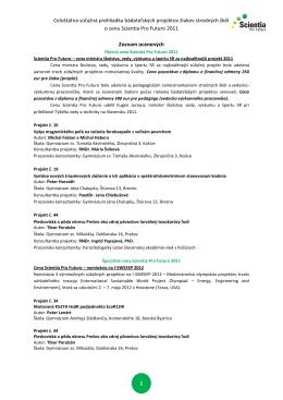 Zoznam ocenených Scientia Pro Futuro 2011