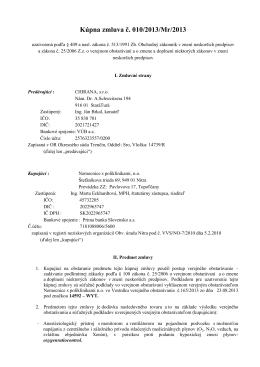 Kúpna zmluva č. 010/2013/Mr/2013