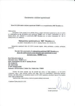Oznámenie o zlúčení spoločností TEXNET a 3NET