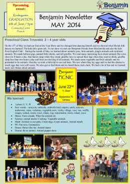 Benjamin Newsletter MAY 2014