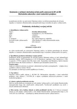 Oznámenie o vyhlásení obchodnej súťaže podľa ustanovení § 281