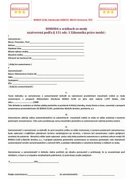 Prihláška OZ BONUS CLUB a DOHODA o zrážkach zo mzdy OZ
