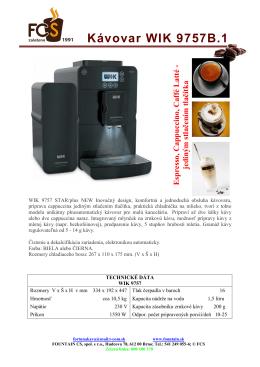 Kávovar WIK 9757B - prospekt sk