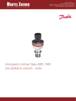 snímač tlaku MBS 1900 - Martel Energo, meracia a regulačná technika