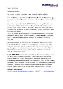 02-2014 / Nový leasing manažér IMMOPARK Košice A Žilina