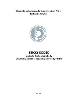 ETICKÝ KÓDEX - Technická fakulta