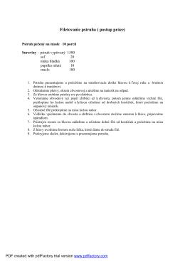 Filetovanie pstruha ( postup práce)