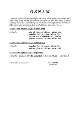 Oznam o výdaji povolení na rybolov 2015