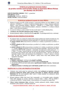 Kritériá pre prijímacie konanie do triedy PRIMA