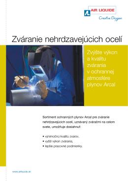 Zváranie nehrdzavejúcich ocelí - Air Liquide Slovakia s.r.o., Bratislava