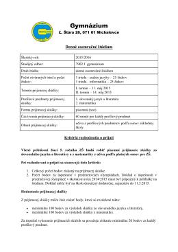 osemročné štúdium - Gymnázium, Ľ. Štúra 26, Michalovce