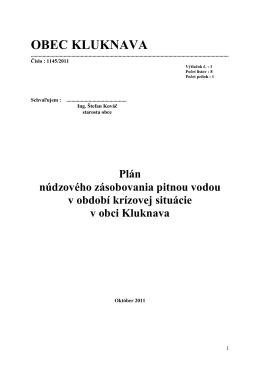 (Plán núdzového zásobovania pitnou vodou 2011)
