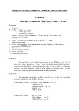 Zápisnica zhromaždenia - Urbárska a Jakubisková spoločnosť