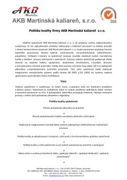 Politika kvality 2014