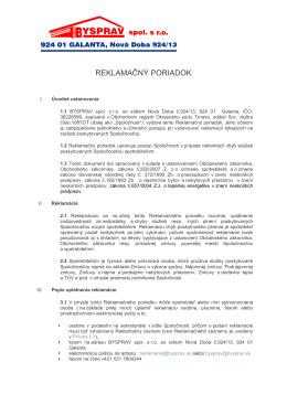 REKLAMAČNÝ PORIADOK - Bysprav spol. s ro