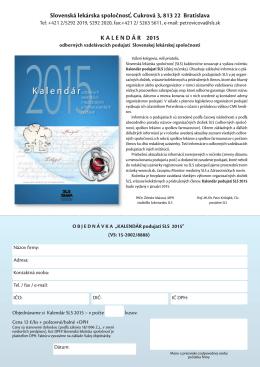 Kalendár podujatí SLS 2015 - Slovenská lekárska spoločnosť