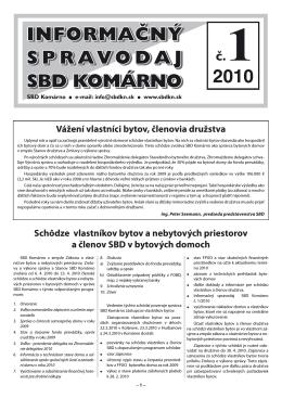SPRAVODAJ 2010-01.indd - Stavebné bytové družstvo Komárno