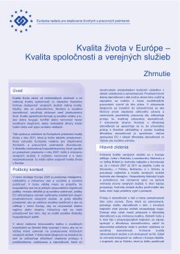 Kvalita spoločnosti a verejných služieb - Eurofound