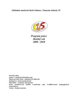 Program práce na školský rok 2009 - 2010