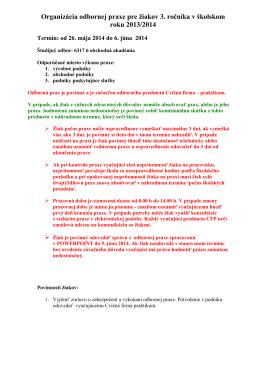 Odborná prax pre žiakov 3 2014