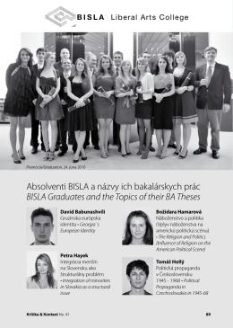 Absolventi BISLA a názvy ich bakalárskych prác