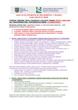 aktuálne informácie pre rodičov a žiakov základných škôl