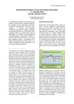 Krátkodobá predikcia vývoja slovenskej ekonomiky