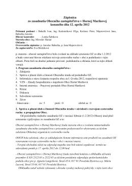 Zápisnica zo zasadnuta OZ 12.04.2012