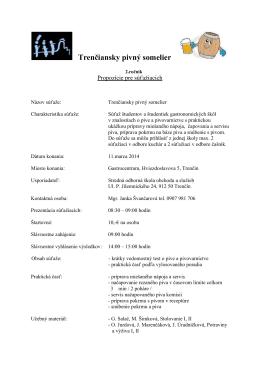 Trenčiansky pivný somelier - Stredná odborná škola obchodu a