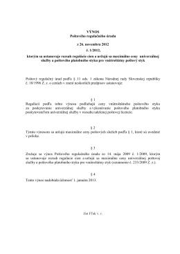 VÝNOS Poštového regulačného úradu z 26. novembra 2012 č. 1