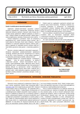 spravodaj scs 2/2012 - Slovenská cestná spoločnosť