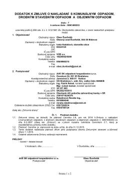 dodatok k zmluve o nakladaní s komunálnym