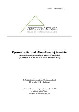 správe - Akreditačná komisia